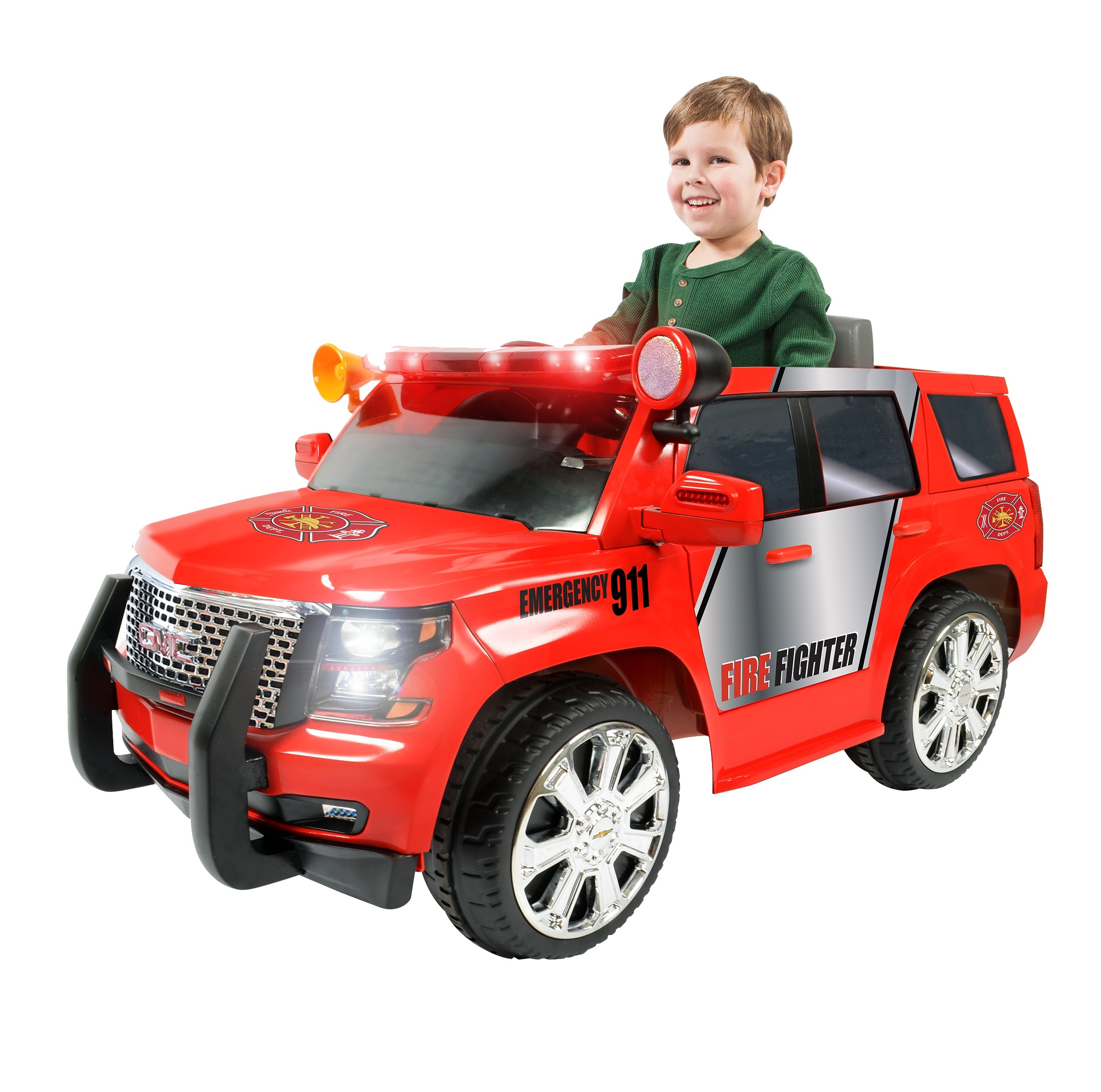 Rollplay 6 Volt GMC Yukon Denali Fire Rescue Ride On Toy, Battery-Powered Kid's Ride On Car