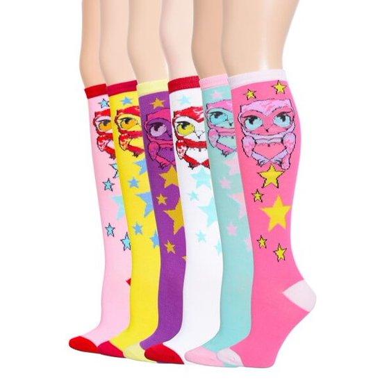 b339e5de1ec Yelete - 6 Pairs Women s Fancy Design Multi Colorful Patterned Knee ...