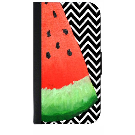 Watermelon on Chevrons Print Design - Wallet Style Cell Phone Case with 2 Card Slots and a Flip Cover Compatible with the Apple iPhone 4 and 4s Universal