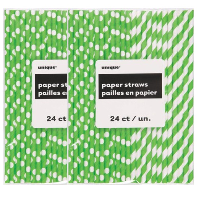 Unique Polka Dot & Striped Paper Straws, 8.25 in, Lime Green, 48 Ct (2 Packs of 24)