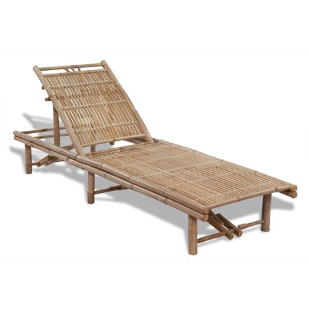 Lounge Chair Bamboo Sun Bed Patio Chaise Outdoor Wood Lounger Recliner Chaise with 3 Adjustable Positions for Beach Yard Pool Garden ()