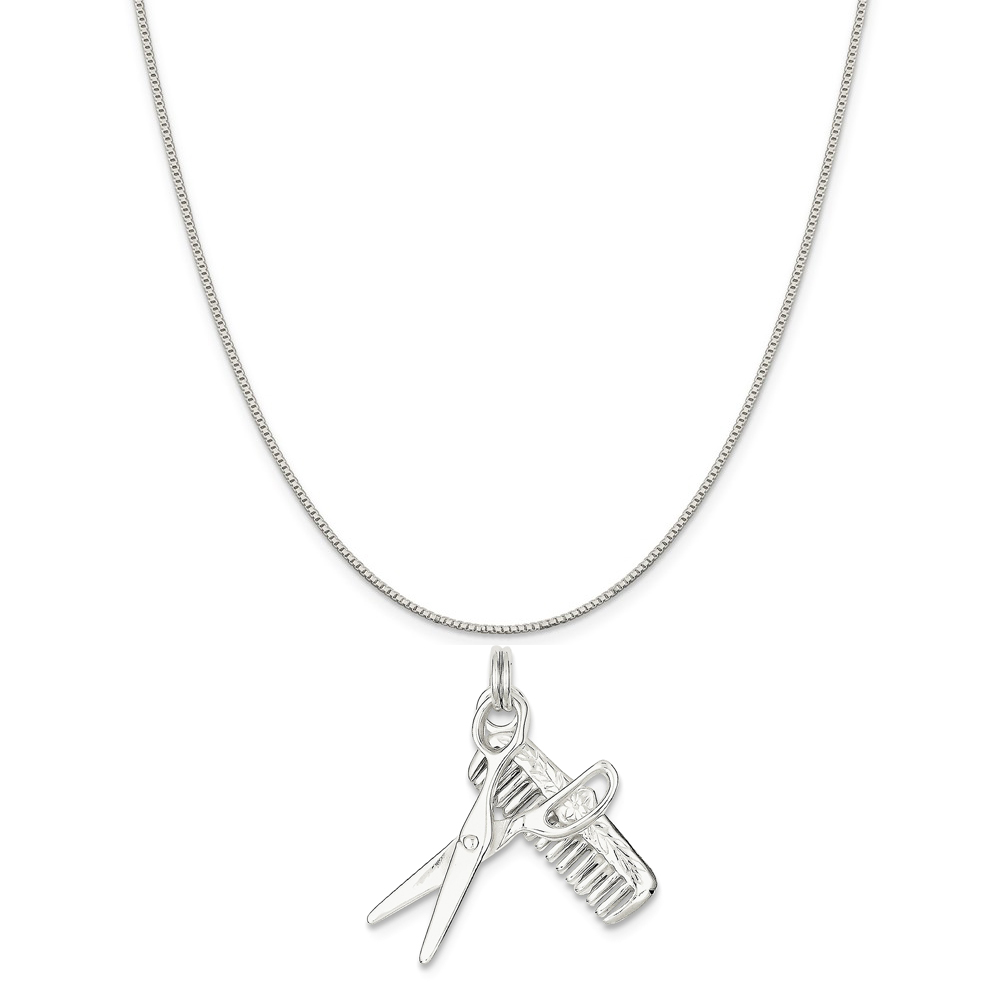 """Sterling Silver Comb and Scissor Charm on a Sterling Silver Box Chain Necklace, 16"""""""