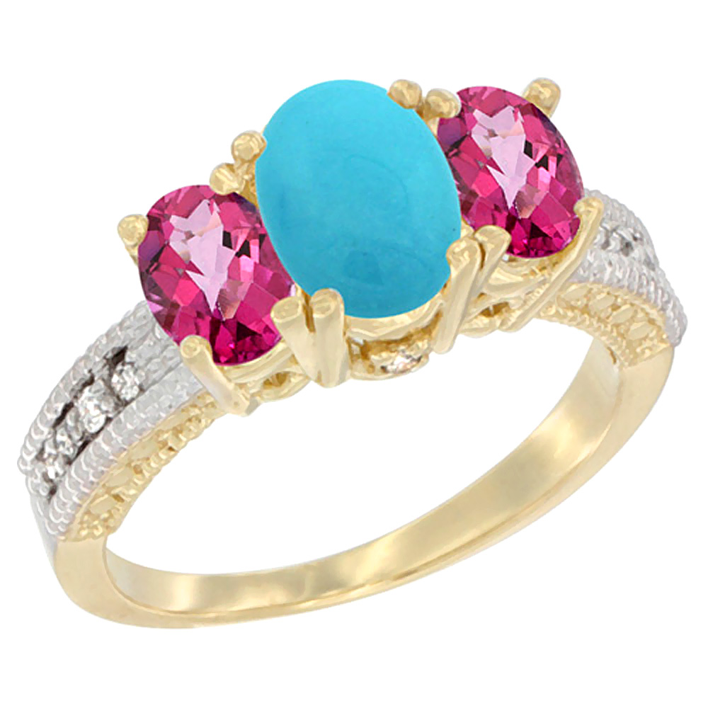 14K Yellow Gold Diamond Natural Turquoise Ring Oval 3-stone with Pink Topaz, sizes 5 10 by WorldJewels