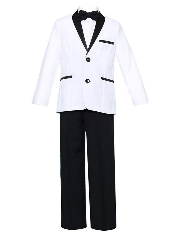 Baby Boys White Black 4 Pcs Shirt Bow Pants Jacket Slim Fit Tuxedo
