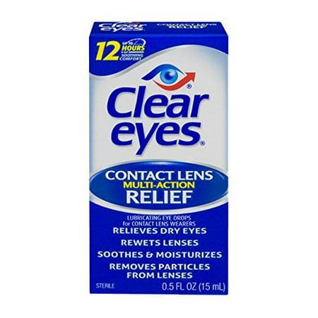 4 Pack - Clear Eyes Lentilles de contact de secours multi-action Chaque 0,5 oz