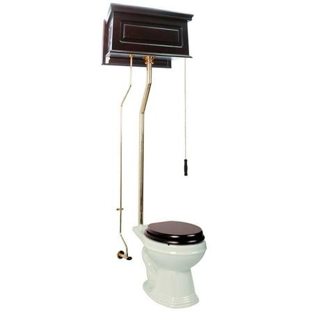 High Tank Toilet Dark Oak Flat Panel Round Biscuit Bowl Brass LPipe