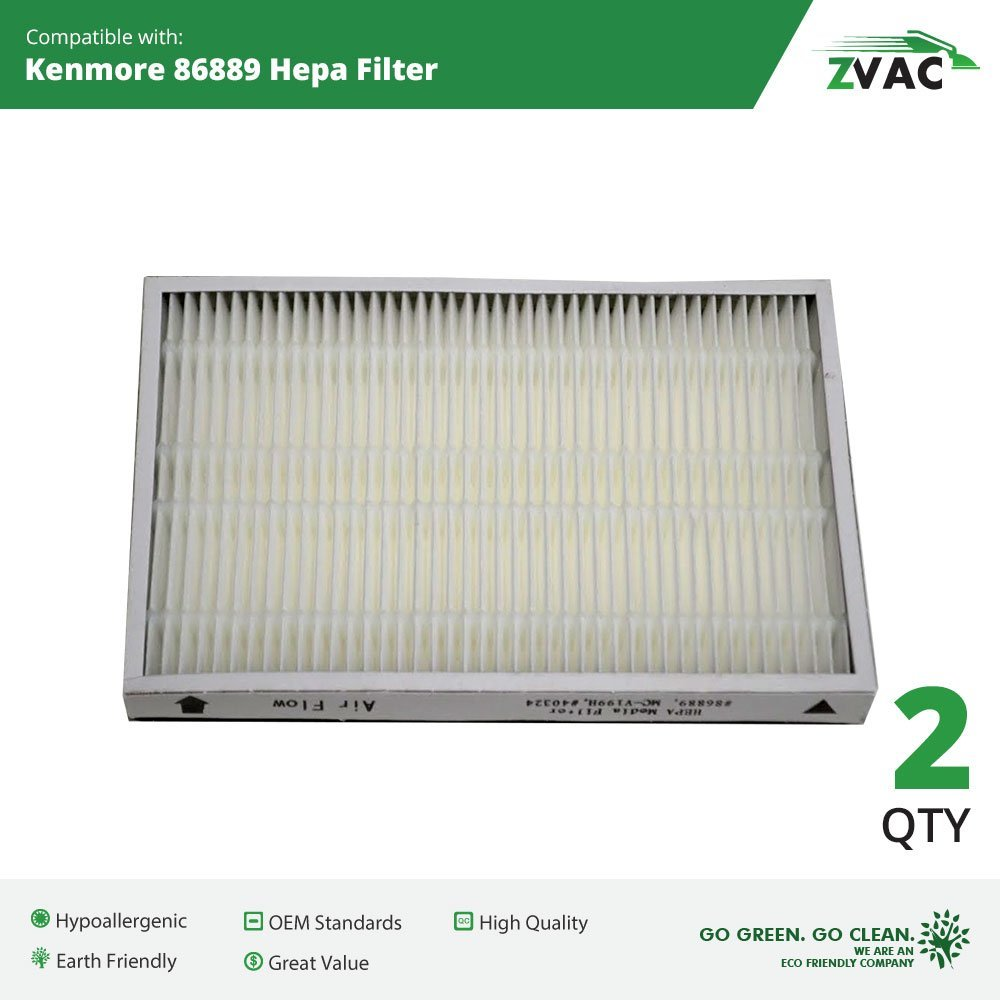2 Pack ZVac Kenmore 86889 HEPA Vacuum Cleaner Filter for Upright & Canister