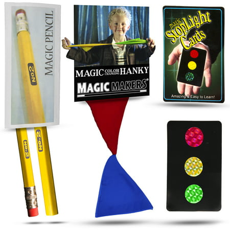 Magic Makers Color Changing Hanky, Stop Light Cards and Magic Pencil Magic Tricks Kit - Magic Kit