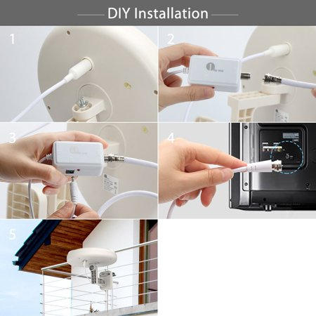 1byone TV Antenna, Amplified Antenna with Omni-directional