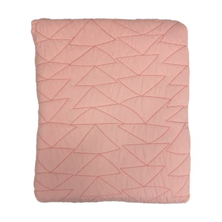 Pillowfort Reversible Solid Pink Coral Stitched Full Queen Bed Quilt
