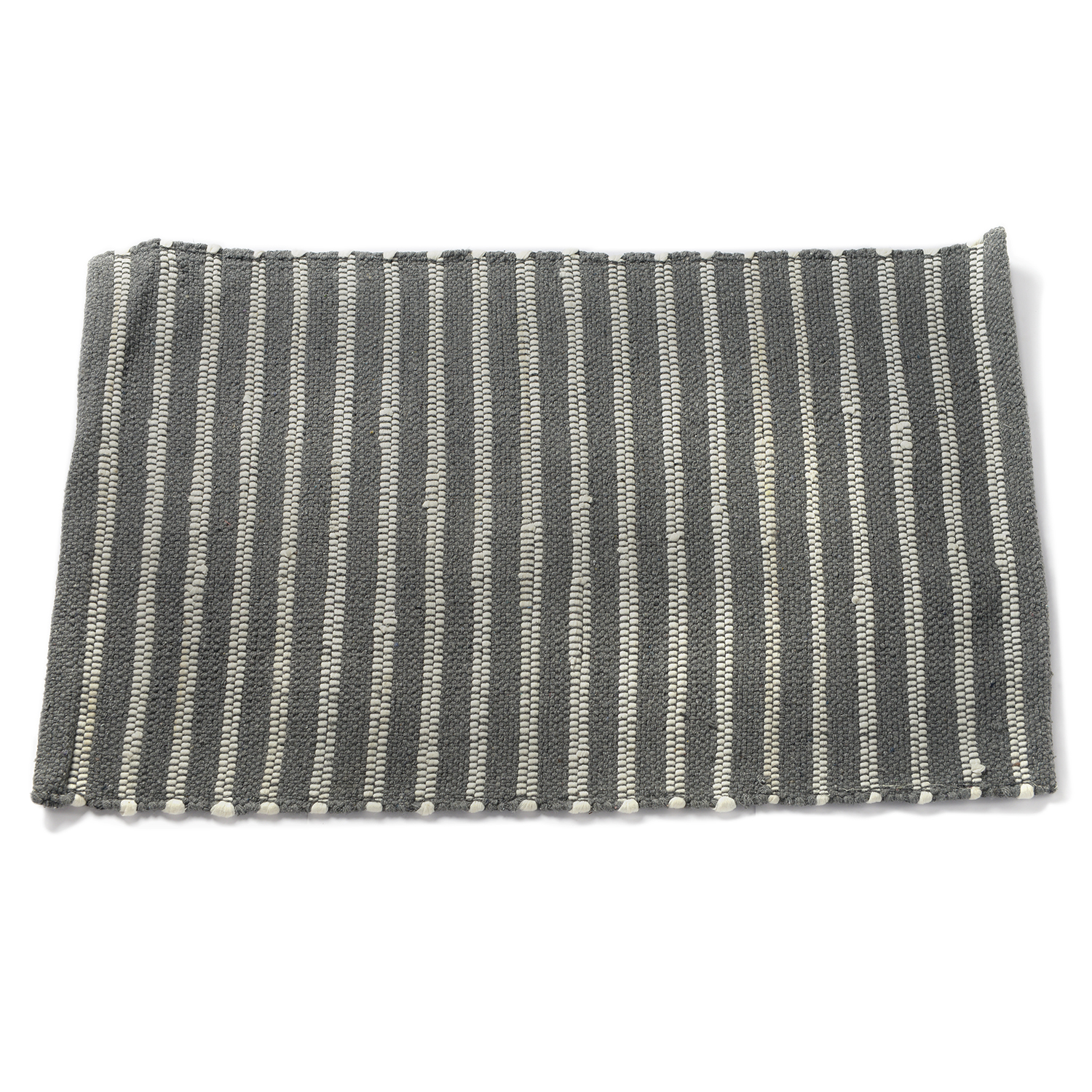 Gray and White Cotton Rich Striped Rug