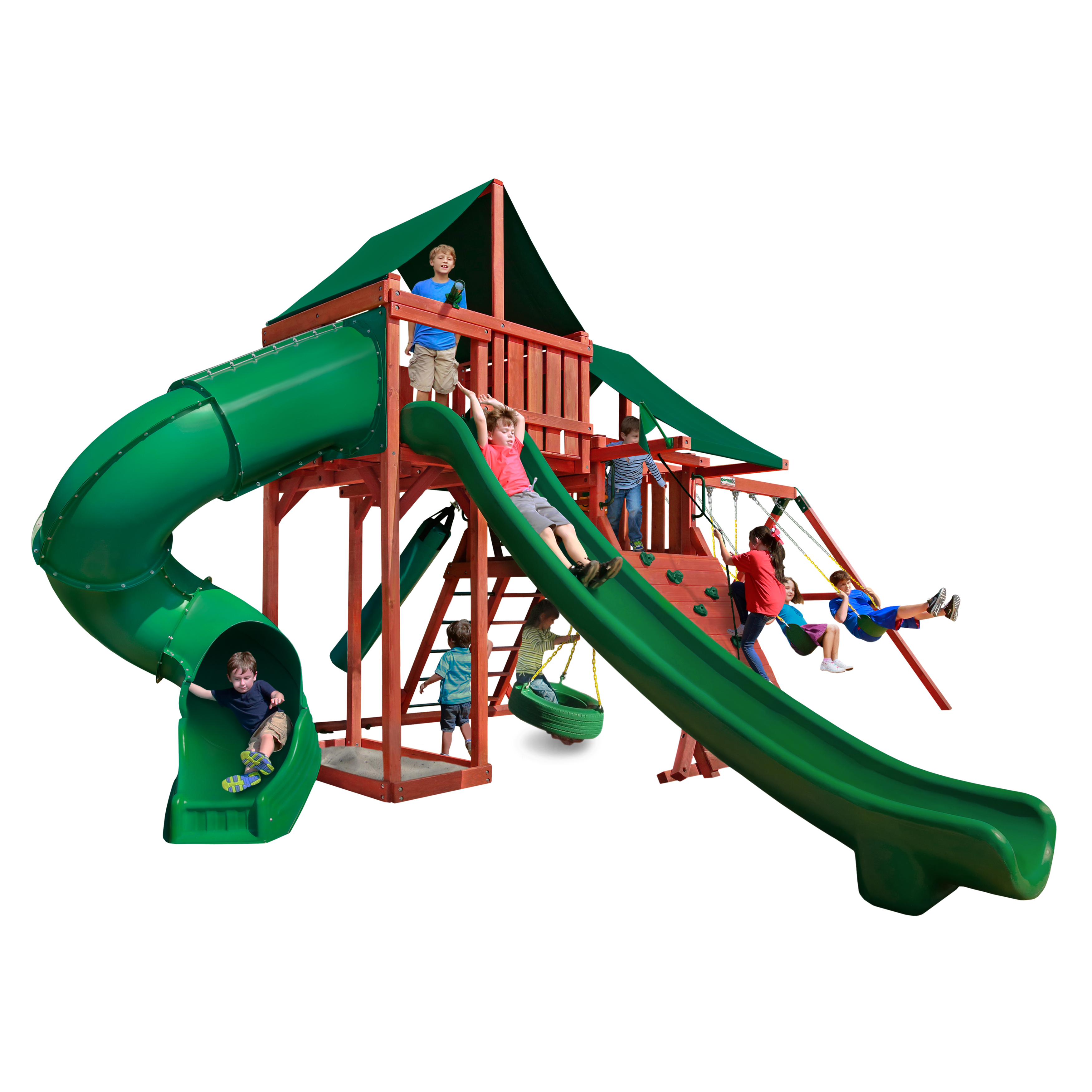 Gorilla Playsets Sun Climber Deluxe Wooden Swing Set with Sunbrella® Canvas Canopies, Rock Climbing Wall, and Tire Swing