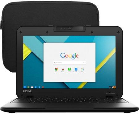 Refurbished Lenovo N22 Series Chromebook 11.6-Inch (2GB RAM, 16GB HDD, Intel Celeron 1.60GHz) + Chromebook Sleeve Case (Scratches &