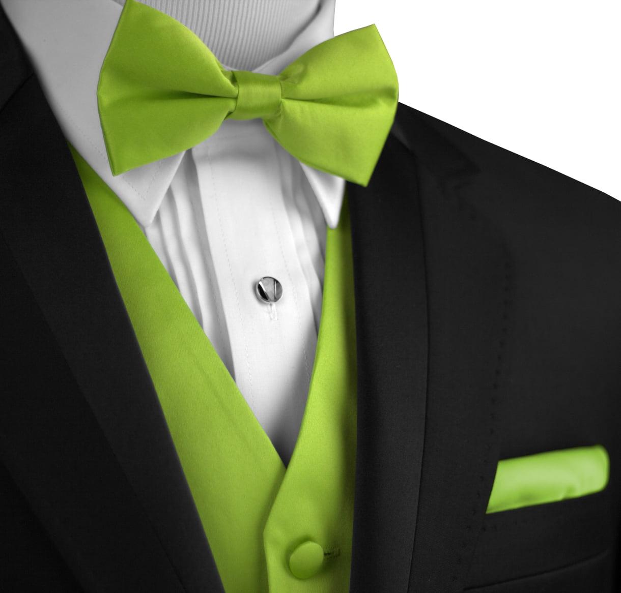 Italian Design, Men's Tuxedo Vest, Bow-Tie & Hankie Set in Lime