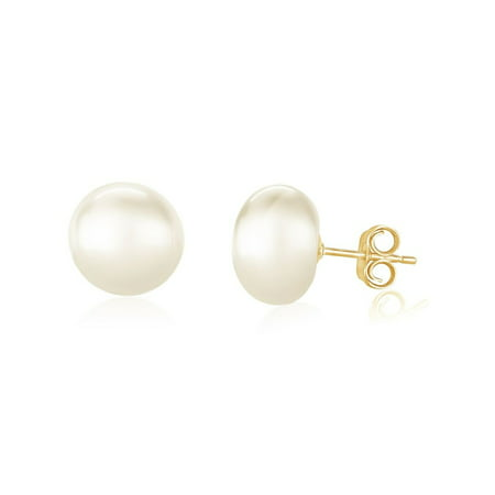Early Black Friday / Cyber Monday / Holiday Deal! 14K Gold 9-10mm Freshwater Pearl Button Stud Earring - AAA Quality - Fine Jewelry Gift for Women