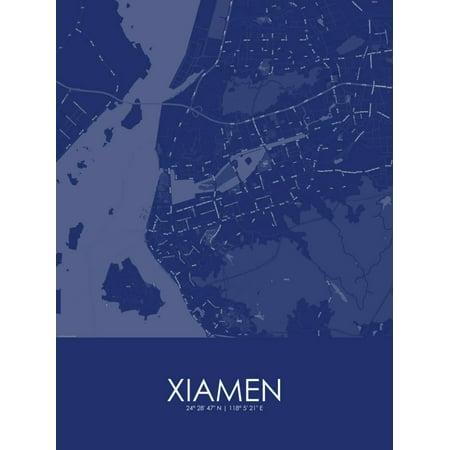 China Map Poster.Xiamen China Blue Map Poster Wall Art Walmart Com