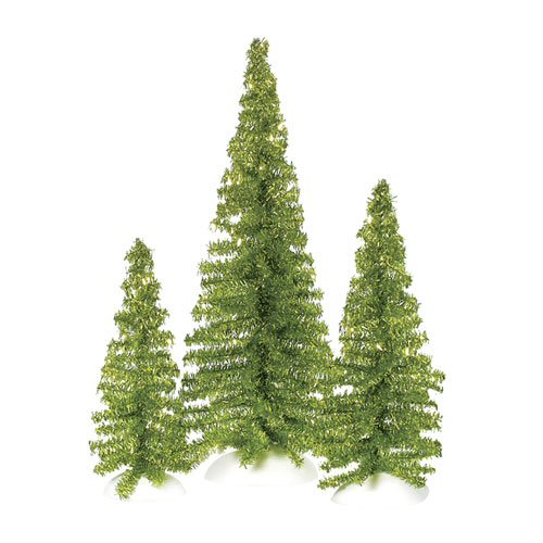 Department 56 Village Accessories 800486 Classic Tinsel Trees - Bright Green