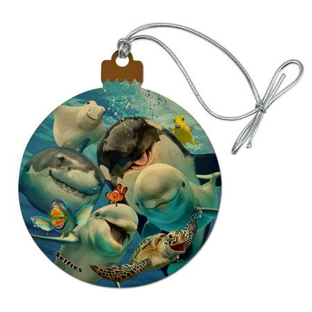 Ocean Selfie Shark Dolphin Sea Turtle Stingray Clown Fish Wood Christmas Tree Holiday Ornament ()