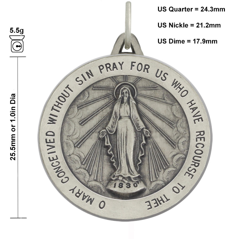 18 to 24 US Jewels And Gems New 0.925 Sterling Silver 1 Round Miraculous Virgin Mary Antique Finish Pendant Necklace