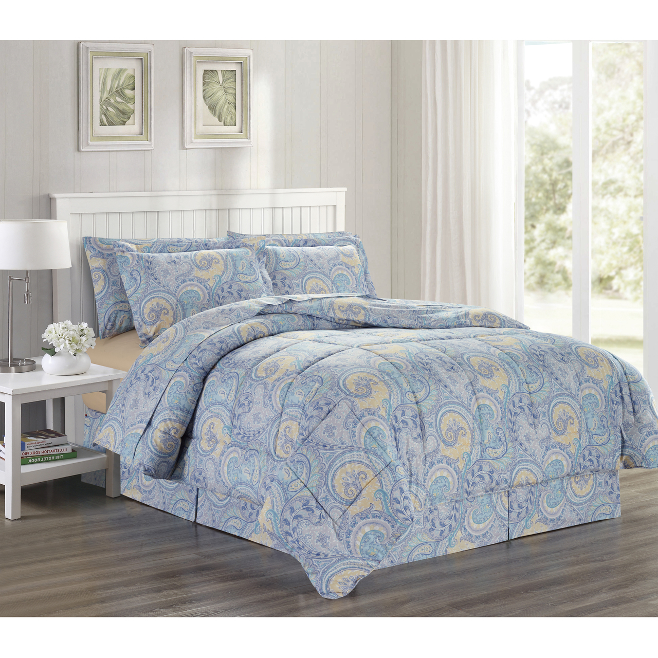 Ultra Soft Microfiber 8 PC Paisley Scroll Printed Down Alternative Bed in a Bag, Bedding Set (Isla, Queen)