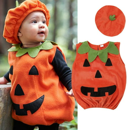 Kids Baby Girl Boy Halloween Pumpkin Hat  Outfit Party Fancy Dress Clothes Costume CA (Halloween Pumpkin Scarecrow)