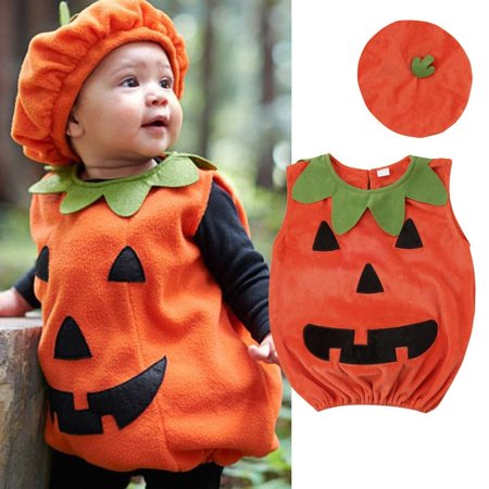 Kids Baby Girl Boy Halloween Pumpkin Hat  Outfit Party Fancy Dress Clothes Costume CA (Baby Ups Costume)