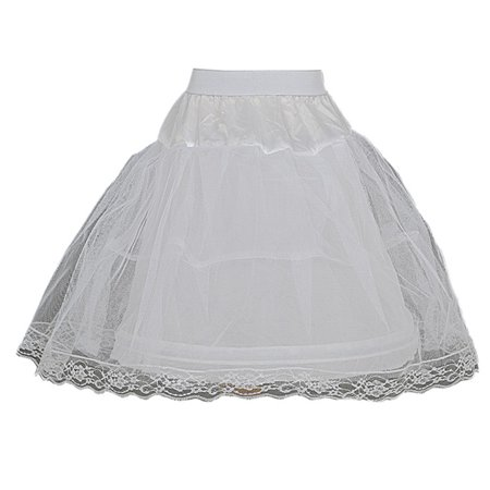 Girls White Wired Layered Lace Mesh Adjustable Waist Petticoat (Layer Petticoat)