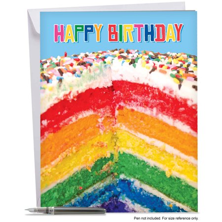 J6565FBDG Jumbo Birthday Card Rainbow Cakes Extra Large Greeting With Envelope