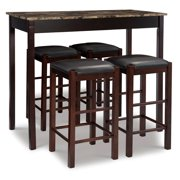 Riverbay Furniture Five Piece Wood Faux Marble Tavern Set in Espresso