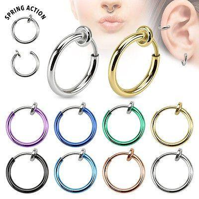 Spring Action Fake Septum Ring in Rhodium Plated Brass Sold individually Choose