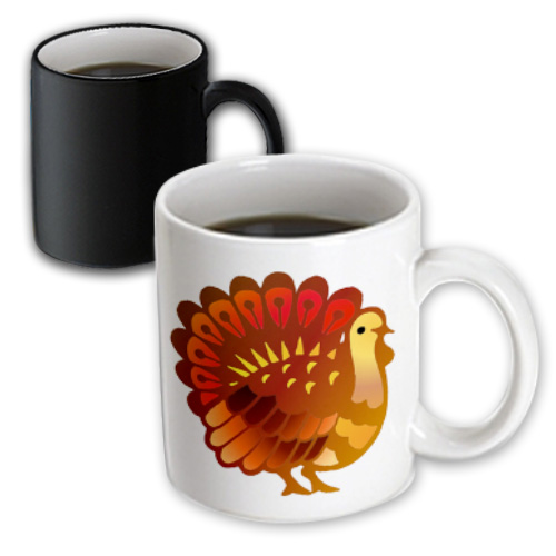 3dRose Thanksgiving Turkey, Magic Transforming Mug, 11oz