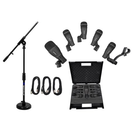 Samson DK705 Drum Microphone Kit (1) Q71 Kick Mic+(4) Q72 Snare Mics+Boom+Cables Dynamic Kick Drum Microphone