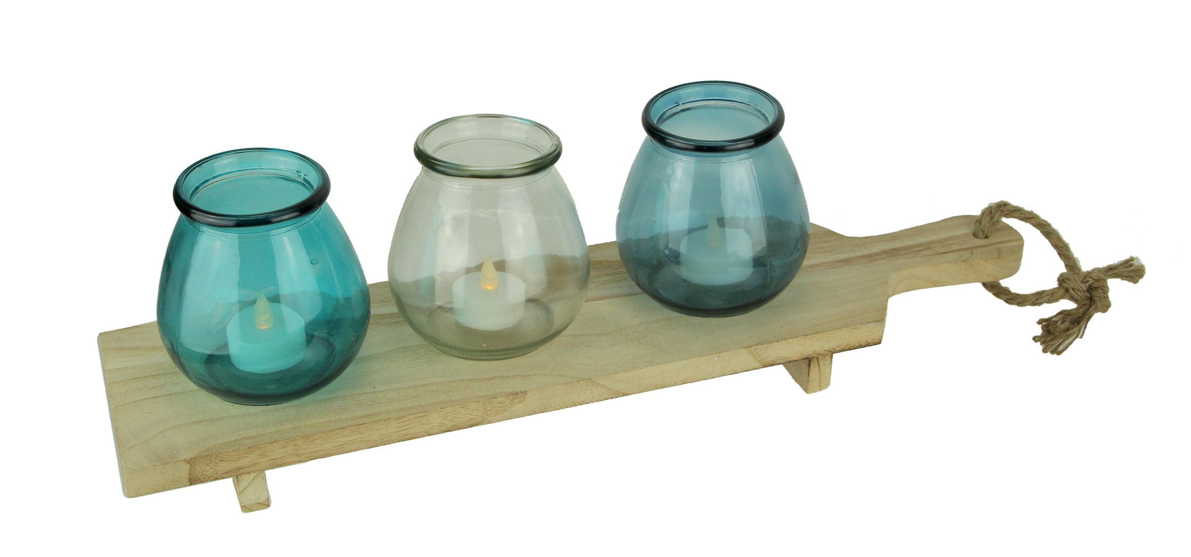 Coastal Blue Glass 3 Votive Candle Holders On Wood Tray Set Walmart Com Walmart Com