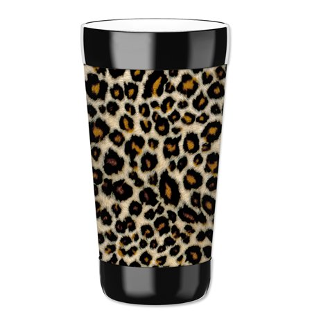 Mugzie 16-Ounce Tumbler Drink Cup with Removable Insulated Wetsuit Cover - Small Leopard Spots