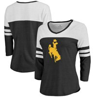 Wyoming Cowboys Fanatics Branded Women's Primary Logo Color Block 3/4 Sleeve Tri-Blend T-Shirt - Black