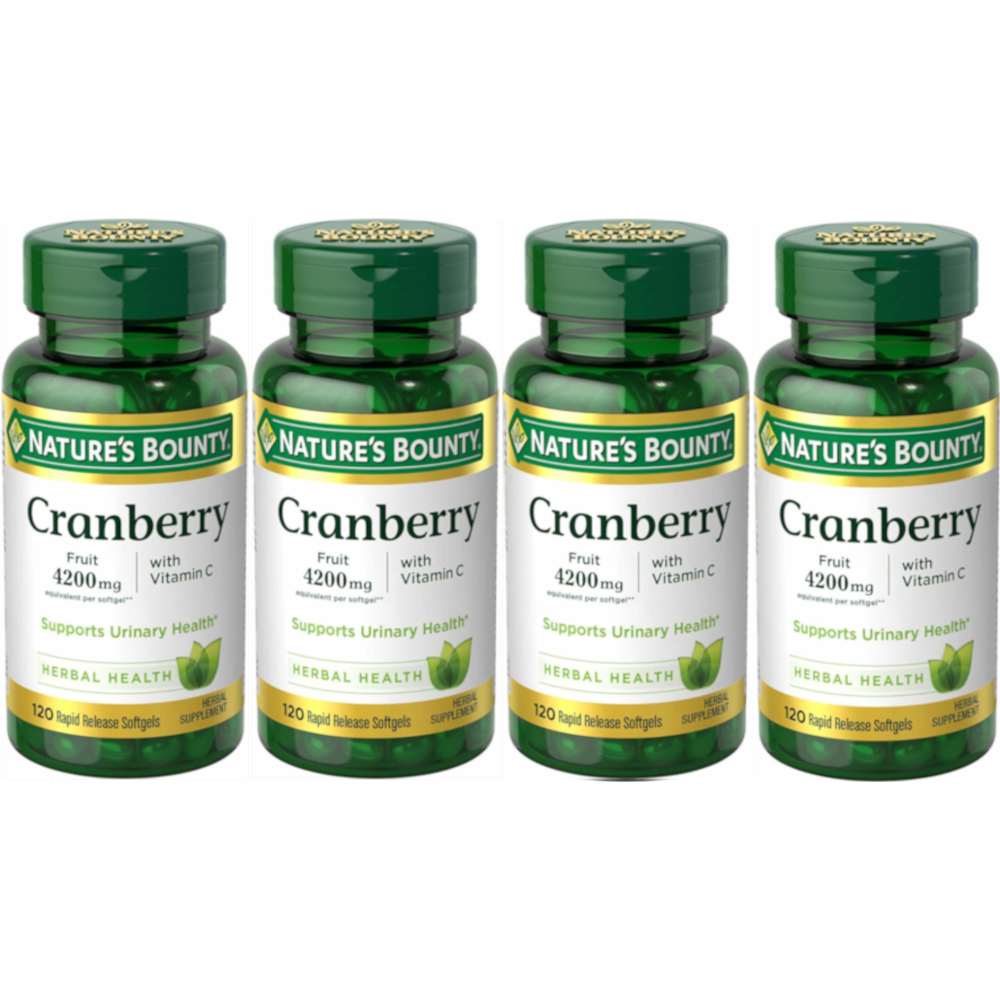 4 Pack Nature's Bounty Cranberry Fruit 4200 mg, Plus Vitamin C Softgels 120 Each
