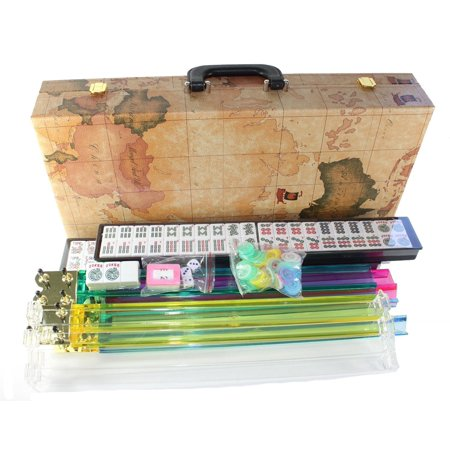 American Mahjong Set in World Map Case with 18