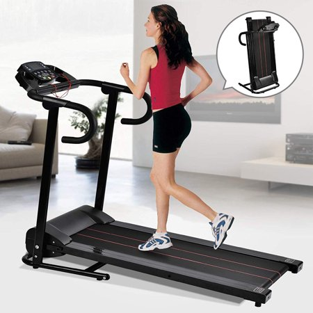 Murtisol 1100W Portable Folding Electric Motorized Treadmill Machine LCD Displayer Walking Running Cardio Exercise Fitness Home Gym Black