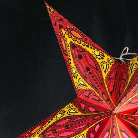 Paper Lanterns Paper Star Lantern 24 inches Red Exotic Dahlia - Paper Star Lanterns