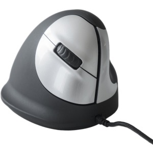 R-GO Large 5-Button Vertical USB Wired Mouse, Right Hand - Silver, Black