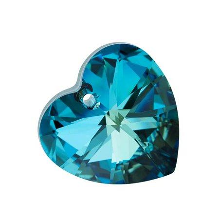 Swarovski Crystal, #6228 Heart Pendant 28mm, 1 Piece, Bermuda Blue (Bermuda Blue Swarovski Crystal)