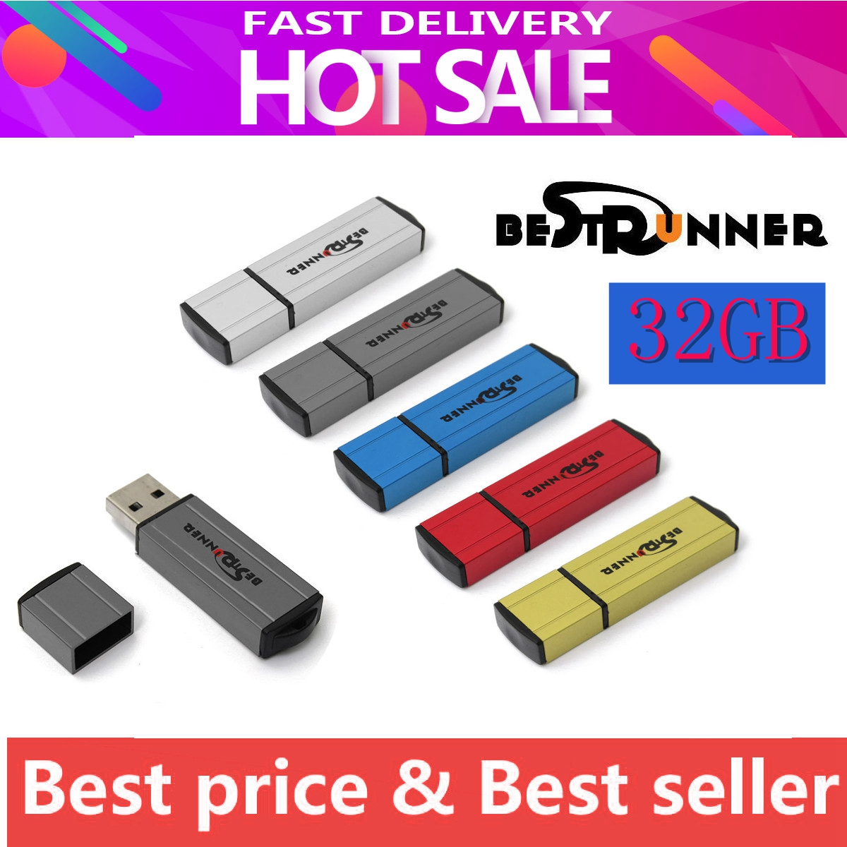 BESTRUNNER 32GB METAL USB 2.0 Flash Drive Stick Memory Thumb Pen Storage U-Disk Multi Color