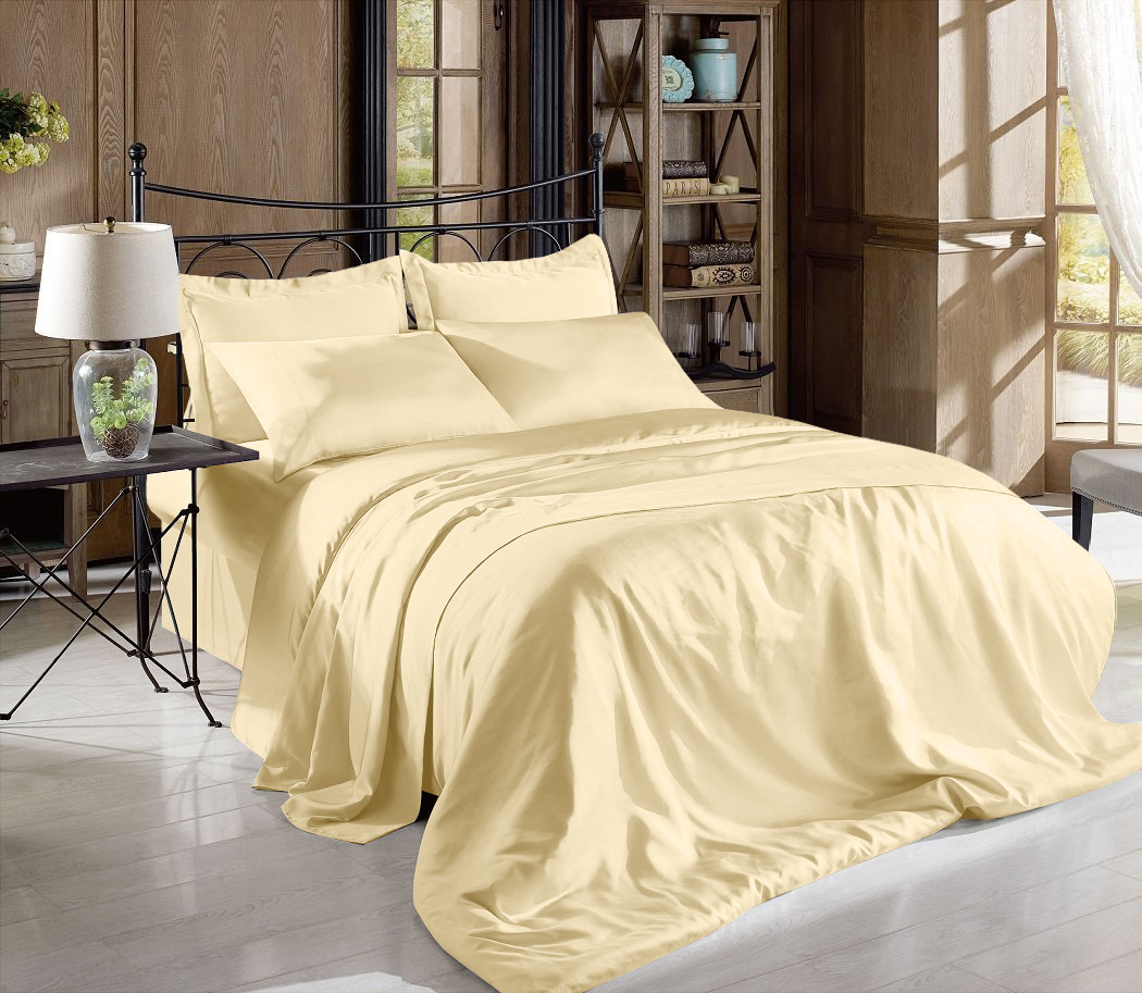 Satin Charmeuse Sheet Set Queen Soft Silk Feel Bedding Luxury Solid Gold New
