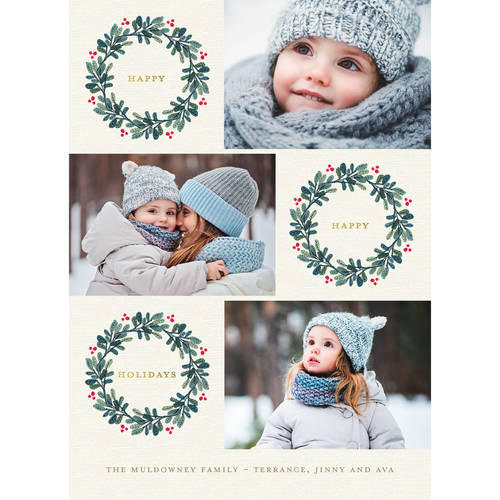 Modern Wreaths - 5x7 Personalized Happy Holiday Card