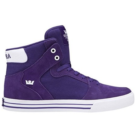 - Supra Vaider Men's Suede Hi Top Fashion Sneakers Athletic Shoes Purple White 08044-501