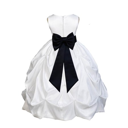 Ekidsbridal Formal Satin Taffeta White Flower Girl Dress Bridesmaid Wedding Pageant Toddler Recital Holiday Communion Birthday Baptism Occasions 301T