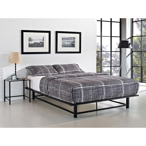 parsons queen metal ledge platform bed, black - walmart