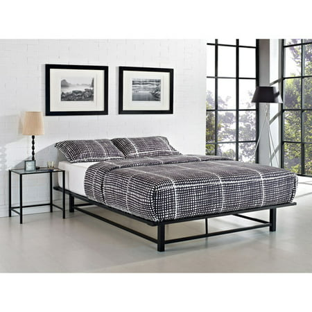 parsons queen metal ledge platform bed black