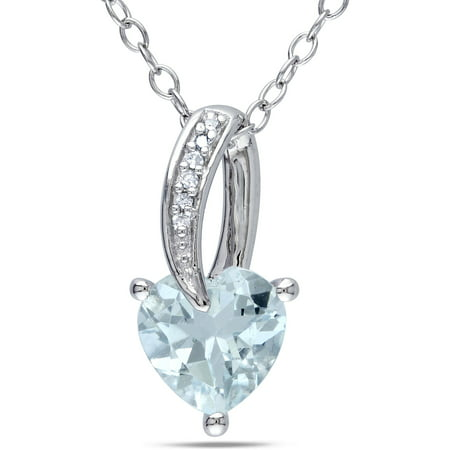 1-1/2 Carat T.G.W. Aquamarine and Diamond-Accent Sterling Silver Heart Pendant, 18 Aquamarine Sterling Silver Pendant