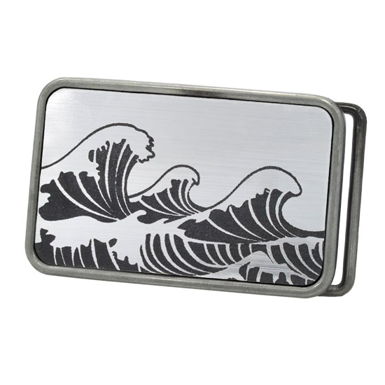 Buckle Rage Japanese Cresting Waves Rounded Rectangle Belt Buckle, ANTIQUE SILVER S1005-162-ATS